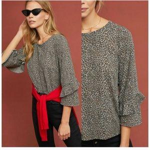 Anthropologie T.la leopard print blouse